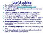 useful advise
