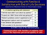 communicating with families satisfaction with end of life decisions