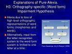 explanations of pure alexia h3 orthography specific word form impairment hypothesis