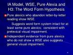 ia model wse pure alexia and h3 the word form hypothesis