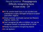 neural systems prosopagnosia difficulty recognizing faces a case study lh
