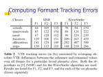 computing formant tracking errors