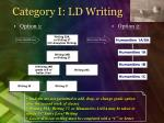 category i ld writing