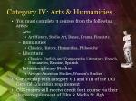 category iv arts humanities