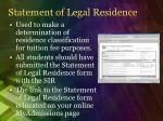 statement of legal residence