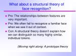 what about a structural theory of face recognition