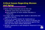 critical issues regarding women and aging