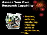 assess your own research capability