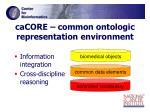 cacore common ontologic representation environment