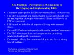 key findings perceptions of consumers in developing and implementing ebps