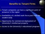 benefits to tenant firms