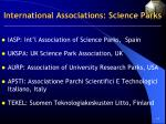 international associations science parks