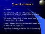 types of incubators