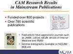 cam research results in mainstream publications