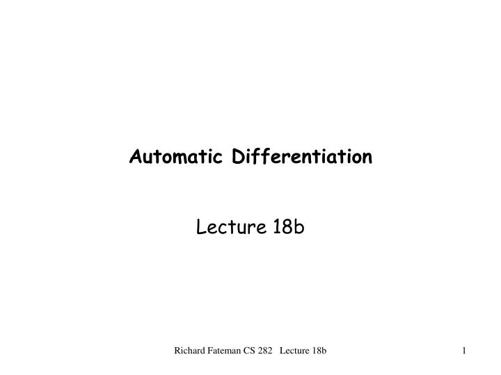 automatic differentiation n.