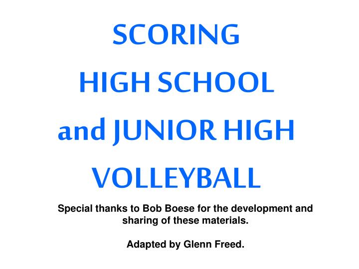 scoring high school and junior high volleyball n.