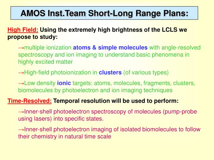 AMOS Inst.Team Short-Long Range Plans: