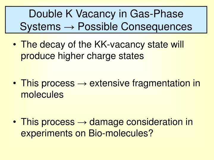 Double K Vacancy in Gas-Phase Systems