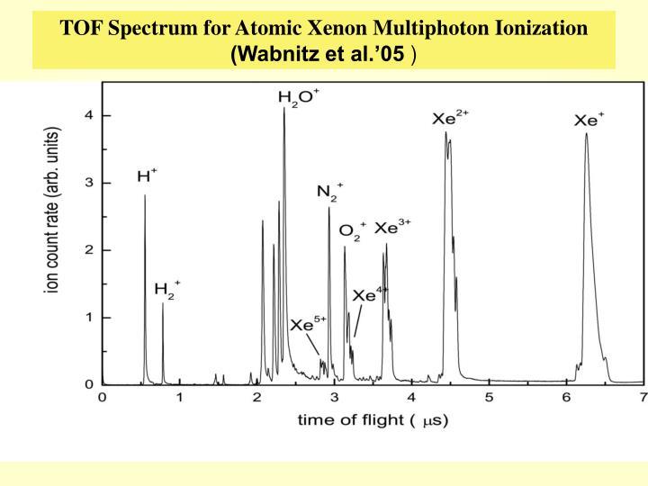 TOF Spectrum for Atomic Xenon Multiphoton Ionization