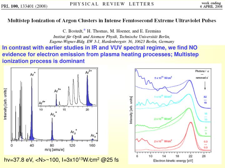 In contrast with earlier studies in IR and VUV spectral regime, we find NO evidence for electron emission from plasma heating processes; Multistep ionization process is dominant