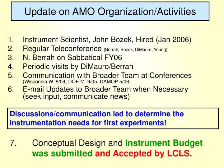 Update on AMO Organization/Activities