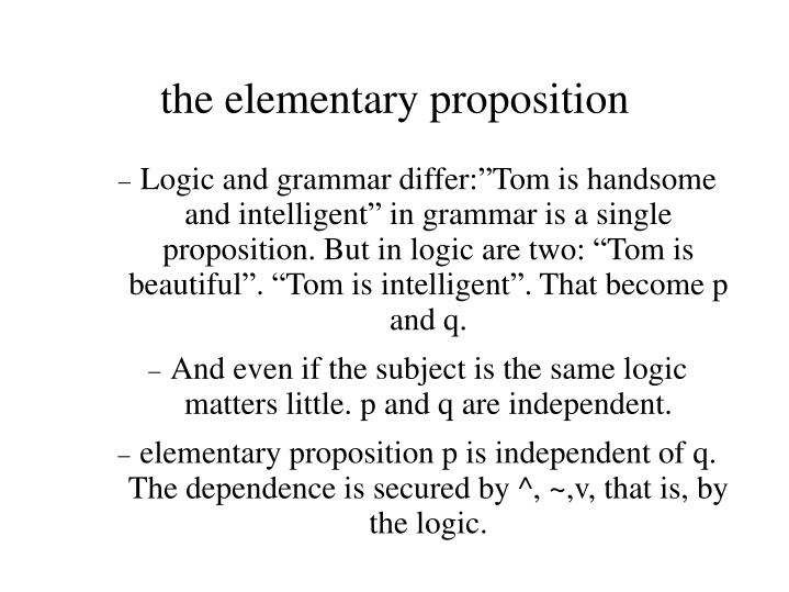 the elementary proposition n.