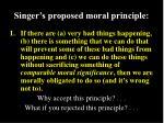 singer s proposed moral principle