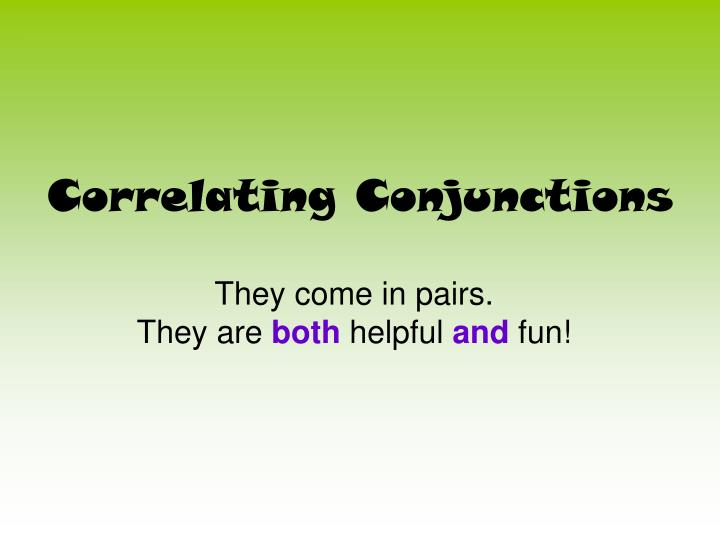 correlating conjunctions n.