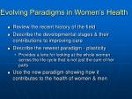evolving paradigms in women s health1