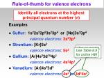 rule of thumb for valence electrons