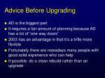 advice before upgrading