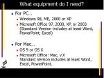 what equipment do i need1