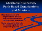 charitable businesses faith based organizations and missions