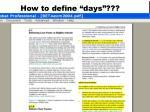 how to define days1