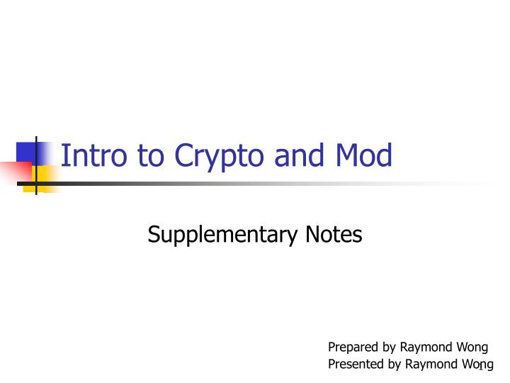 intro to crypto and mod n.