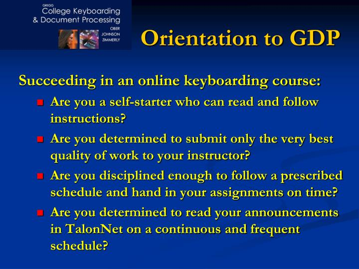 orientation to gdp n.