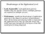 disadvantages of the application level
