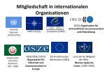 mitgliedschaft in internationalen organisationen