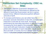 instruction set complexity cisc vs risc