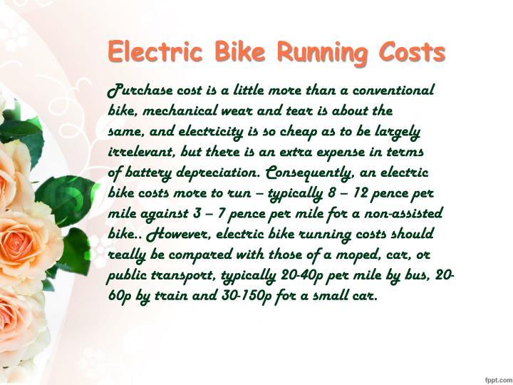 Electric Bike Running Costs