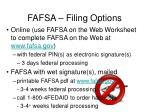 fafsa filing options