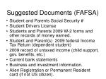 suggested documents fafsa