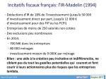 incitatifs fiscaux fran ais l ir madelin 1994