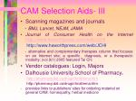cam selection aids iii