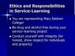 ethics and responsibilities in service learning