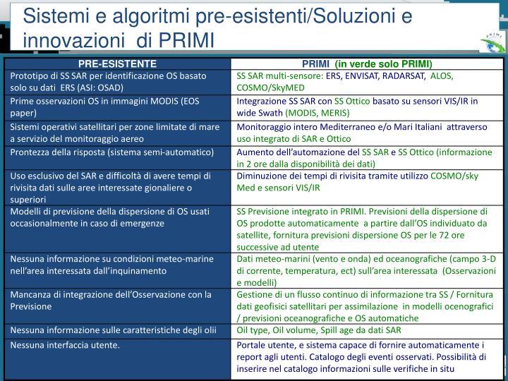 Sistemi e algoritmi pre-esistenti/Soluzioni e innovazioni  di PRIMI