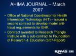 ahima journal march 2007
