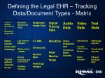 defining the legal ehr tracking data document types matrix