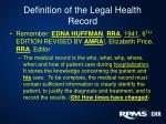 definition of the legal health record