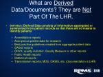 what are derived data documents they are not part of the lhr